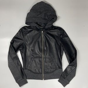 Young Fabulous and Broke Black Hooded Leather Moto Biker Jacket Cashmere Wool XS